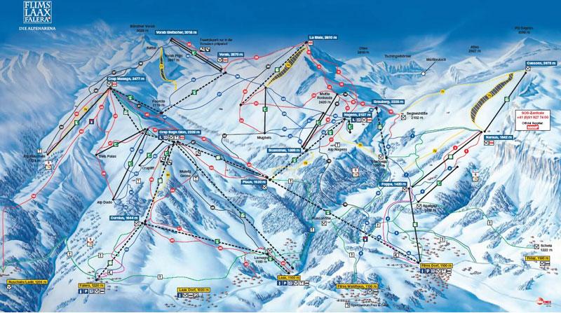 Карта трасс Laax в высоком